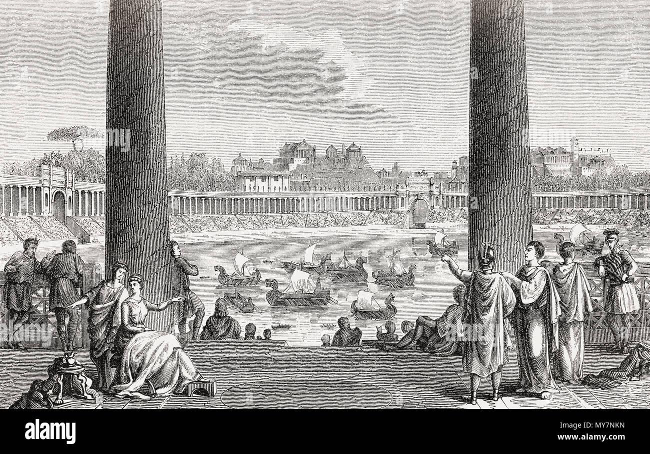 Reconstructed naumachia or naval combat of Augustus, Ancient Rome - Stock Image