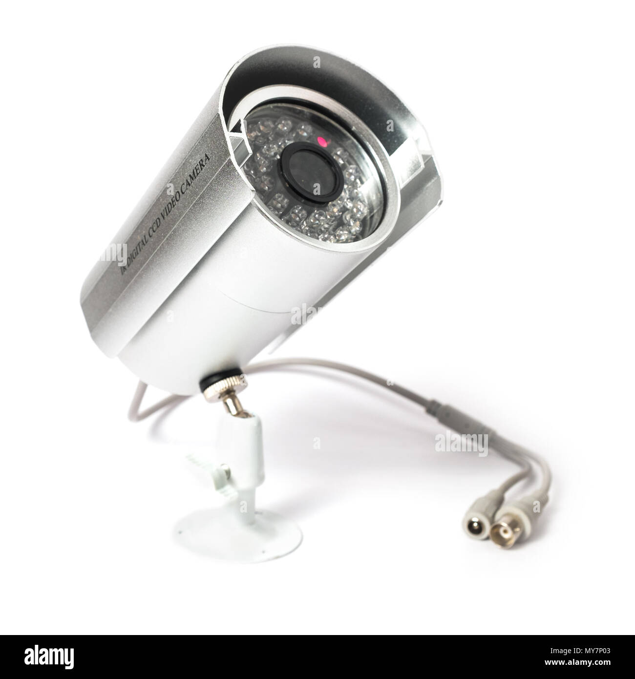CCTV Camera of Surveillance isolate on white background - Stock Image