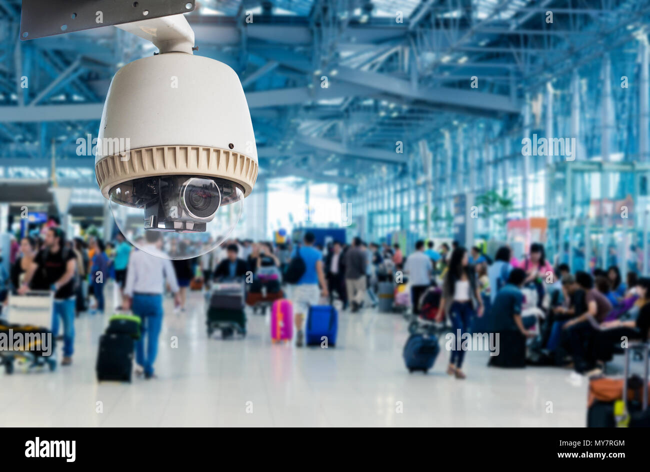 CCTV camera or surveillance operating in air port - Stock Image