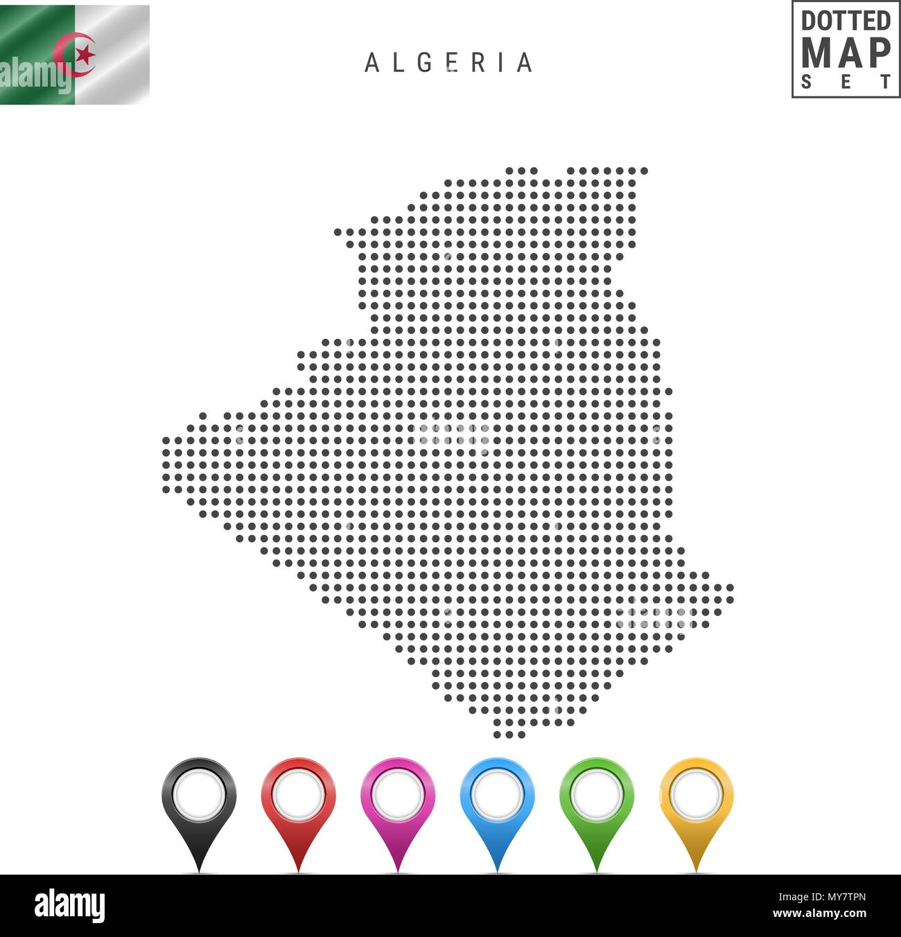 Vector Dotted Map of Algeria. Simple Silhouette of Algeria. National Flag of Algeria. Set of Multicolored Map Markers - Stock Vector