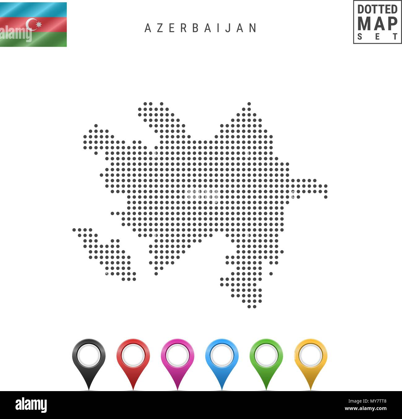 Vector Dotted Map of Azerbaijan. Simple Silhouette of Azerbaijan. National Flag of Azerbaijan. Multicolored Map Markers - Stock Vector