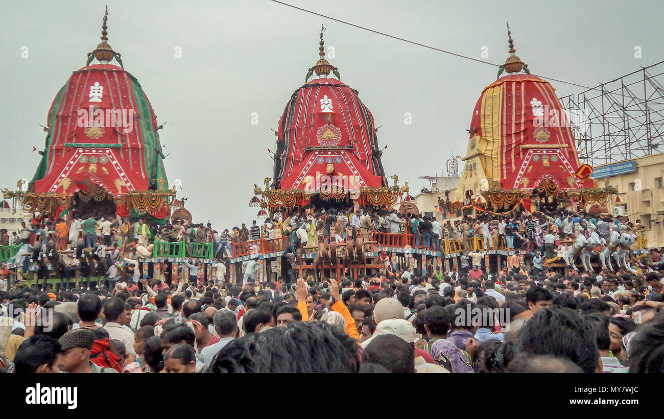 Puri, Orissa, India - August 9, 2011: A huge gathering of devotees from different parts of India at Puri on the occasion of ratha yatra, Puri, Orissa, Stock Photo