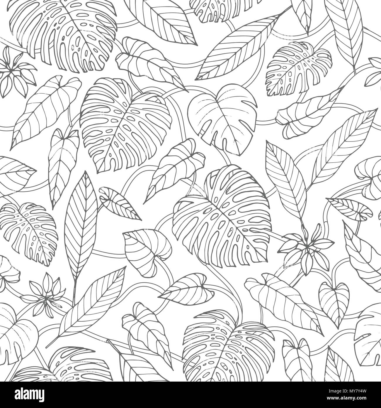 Vector tropical seamless pattern with lianas, monstera and banana ...