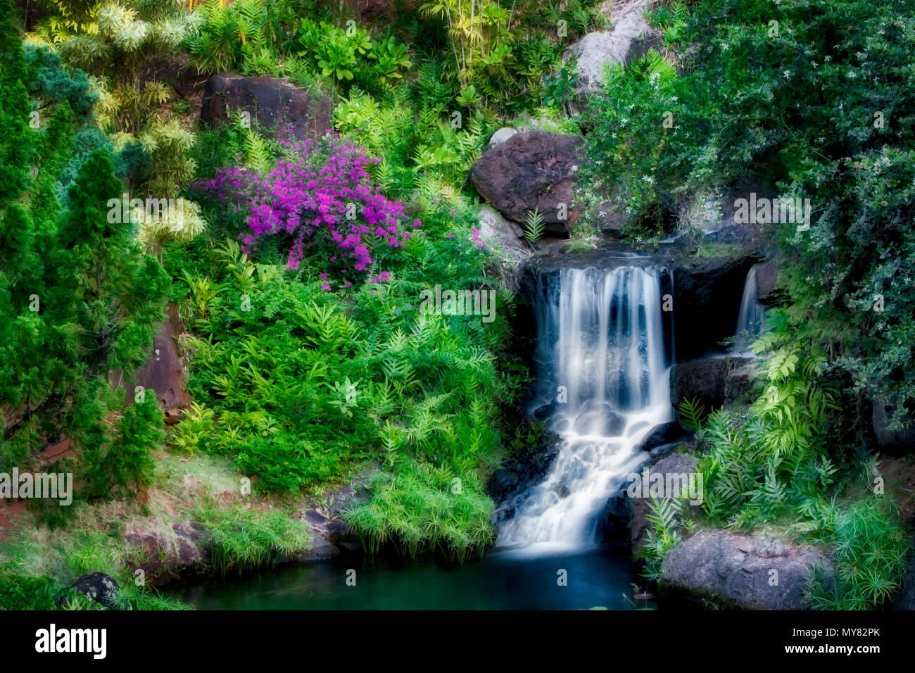 Waterfall At Na Aina Kai Botanical Gardens Kauai Hawaii Stock