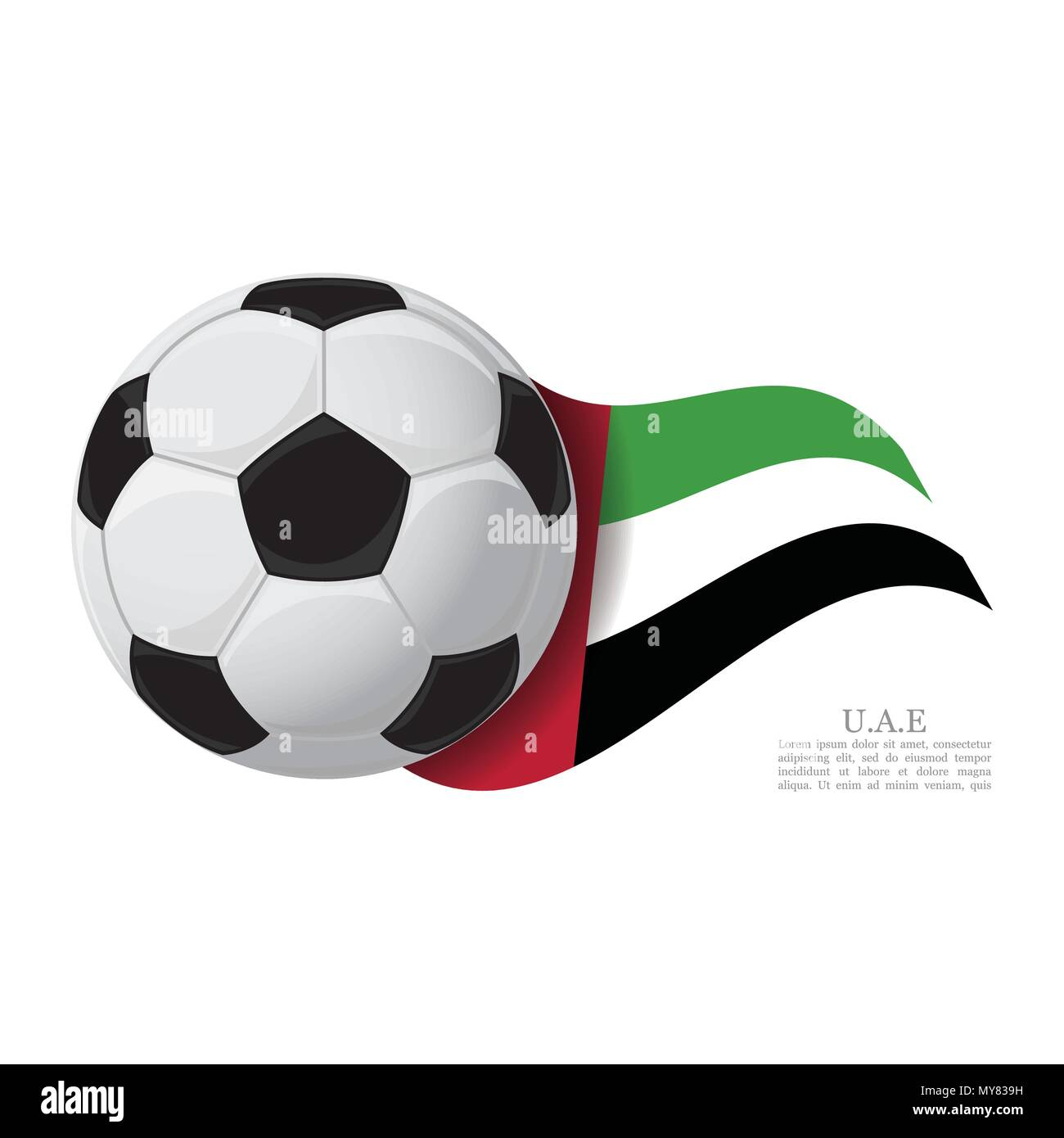 United Arab Emirates waving flag with a soccer ball. Football team support concept - Stock Image