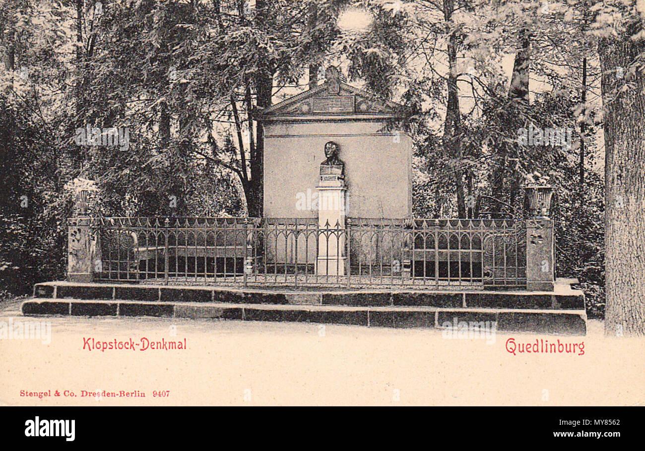 . Deutsch: Das Klopstock-Denkmal in Quedlinburg . ohne Datum. Stengel & Co. Dresden-Berlin 9407 443 Quedlinburg (0SA) 1 - Klopstock-Denkmal - Stock Image
