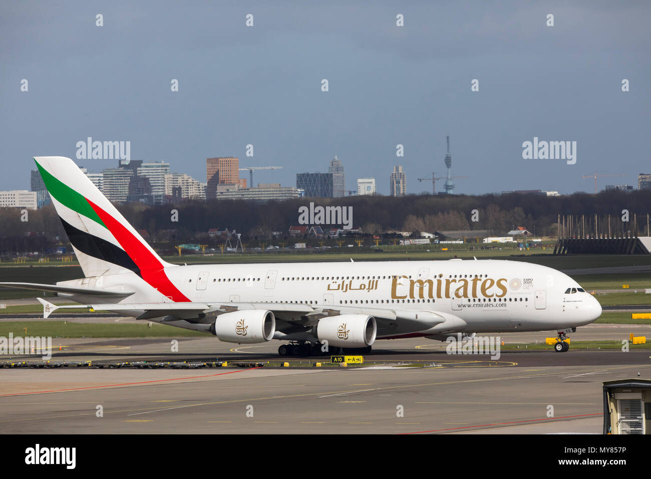 Emirates Airbus A 380-800, aircraft, at Amsterdam Schiphol Airport, in North Holland, Netherlands, - Stock Image
