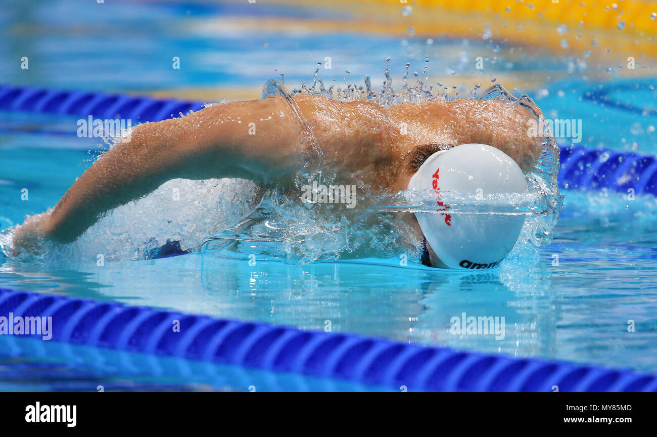 BUDAPEST, HUNGARY - JULY 25: Daniil Pakhomov of Russia  in the heats of the mens 200m butterfly during day 12 of the FINA World Championships at Duna Arena on July 25, 2017 in Budapest, Hungary. (Photo by Roger Sedres/ImageSA/Gallo Images) - Stock Image