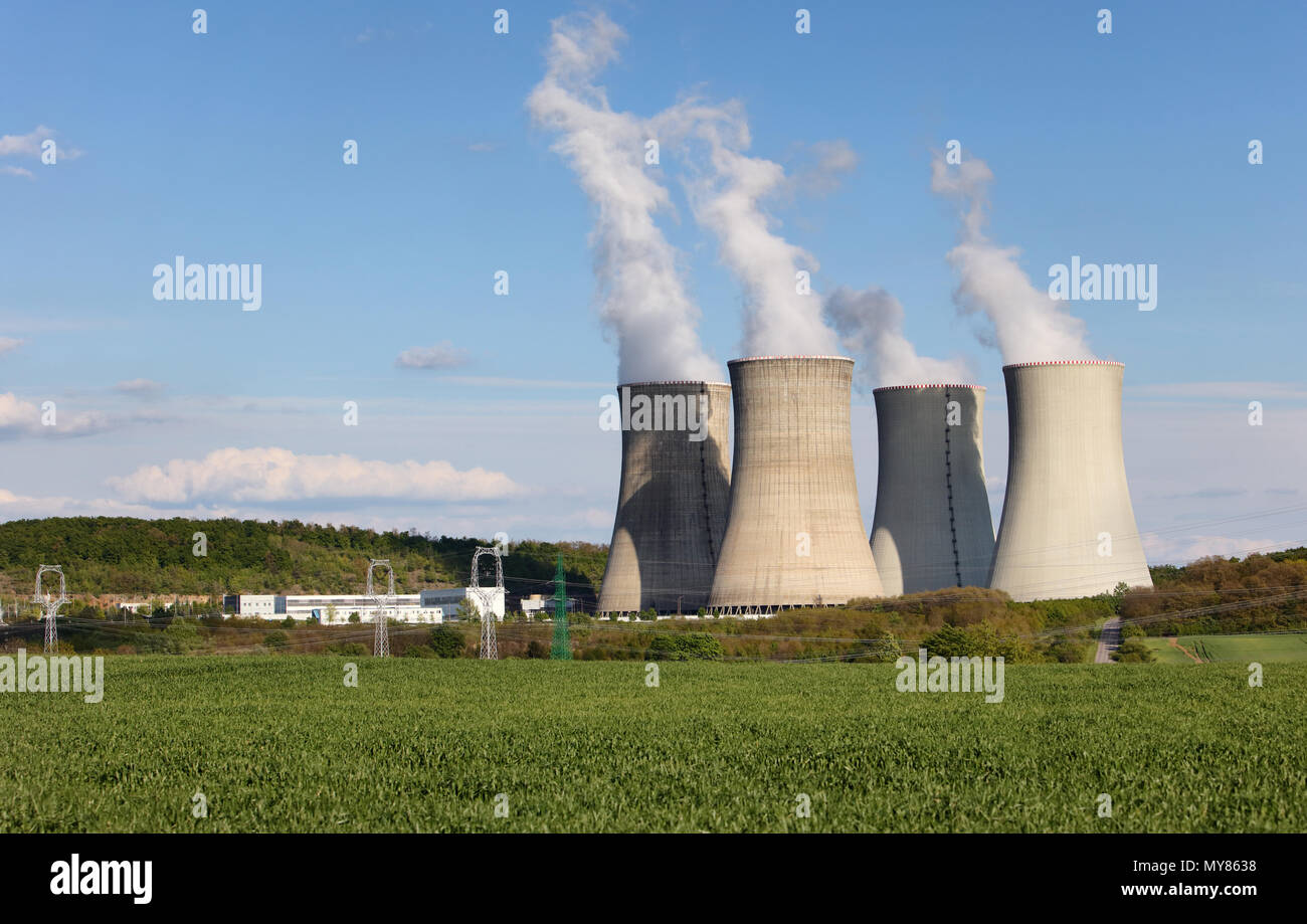 cooling towers of nuclear atomic power plant - Stock Image