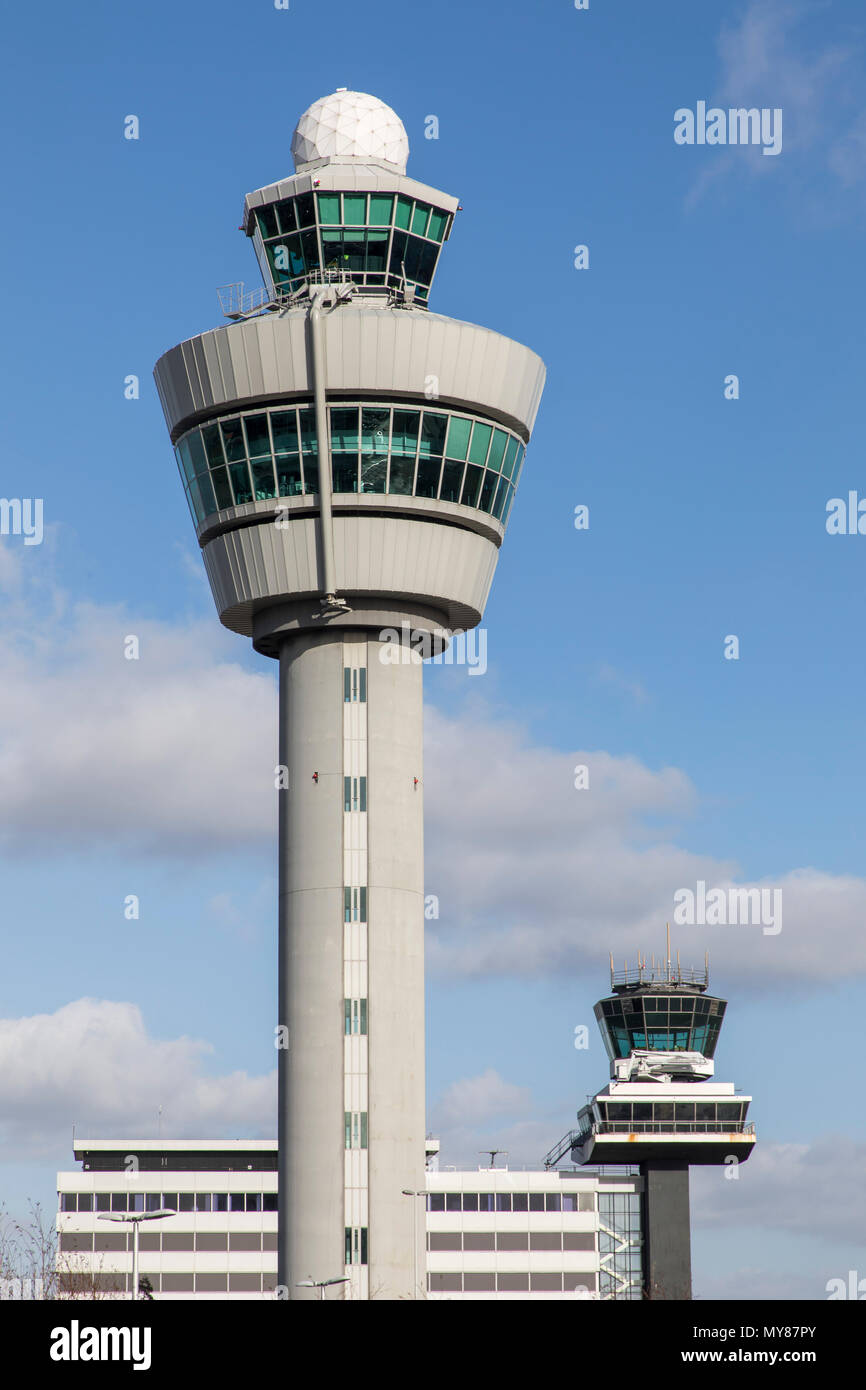 Air Traffic Control Tower, Amsterdam Schiphol Airport, in North Holland, Netherlands, - Stock Image