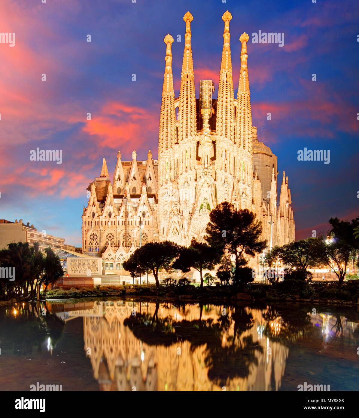 BARCELONA, SPAIN - FEB 10: View of the Sagrada Familia, a large Roman Catholic church in Barcelona, Spain, designed by Catalan architect Antoni Gaudi, - Stock Image