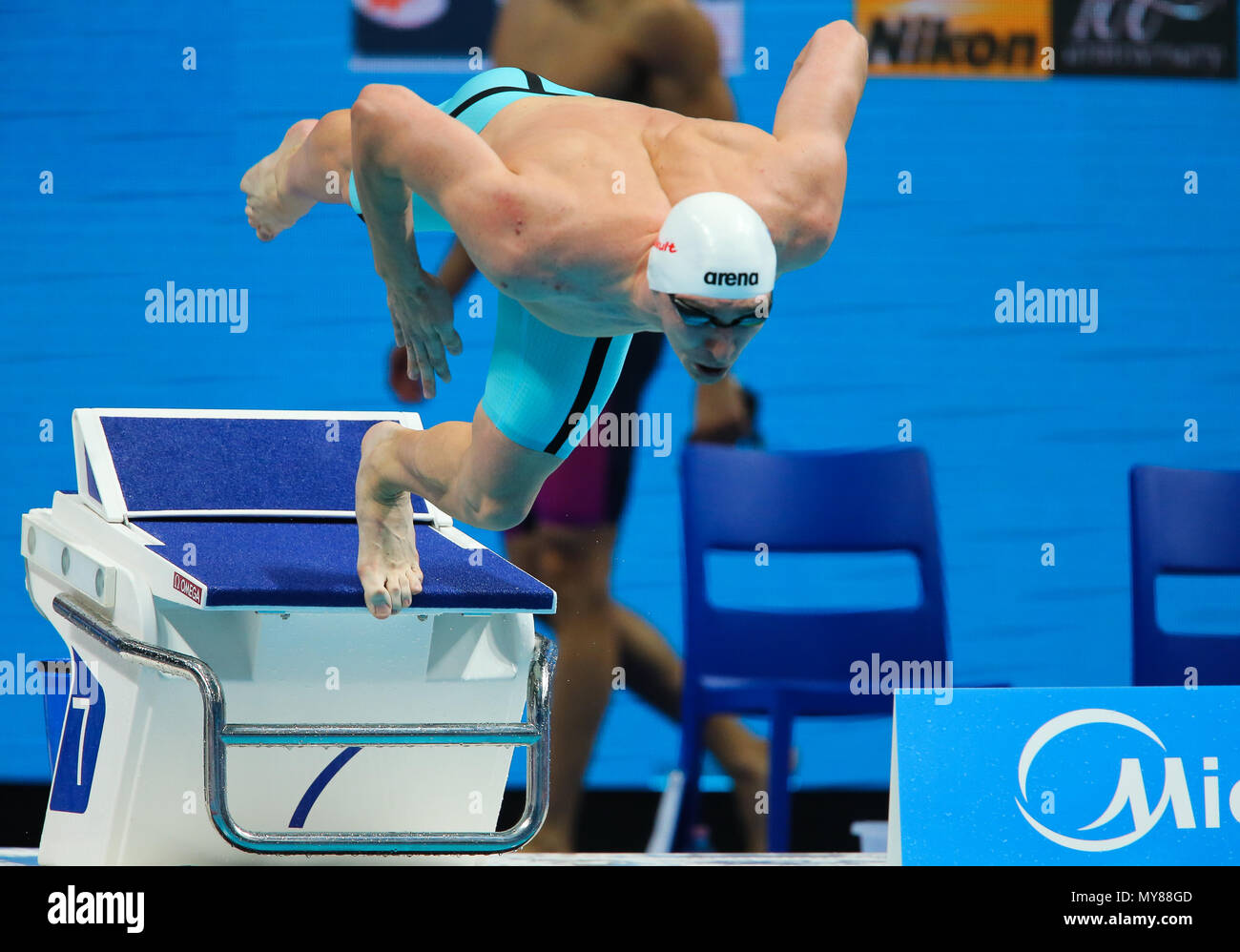 BUDAPEST, HUNGARY - JULY 26: Danila Izotov of Russia in the heats of the mens 100m freestyle during day 13 of the FINA World Championships at Duna Arena on July 26, 2017 in Budapest, Hungary. (Photo by Roger Sedres/ImageSA/Gallo Images) - Stock Image