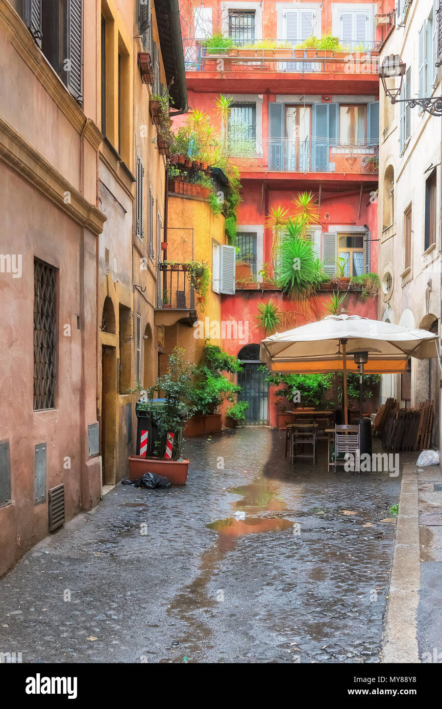 View of old cozy street in Rome, Italy. Cityscape of Rome. - Stock Image
