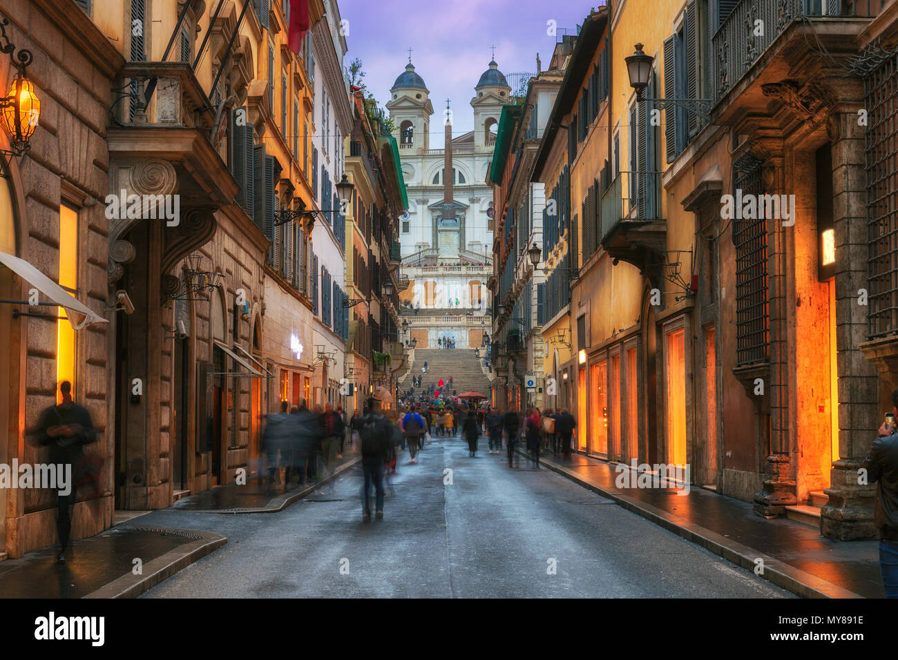 Old cozy street near Spanish Steps in Rome, Italy - Stock Image