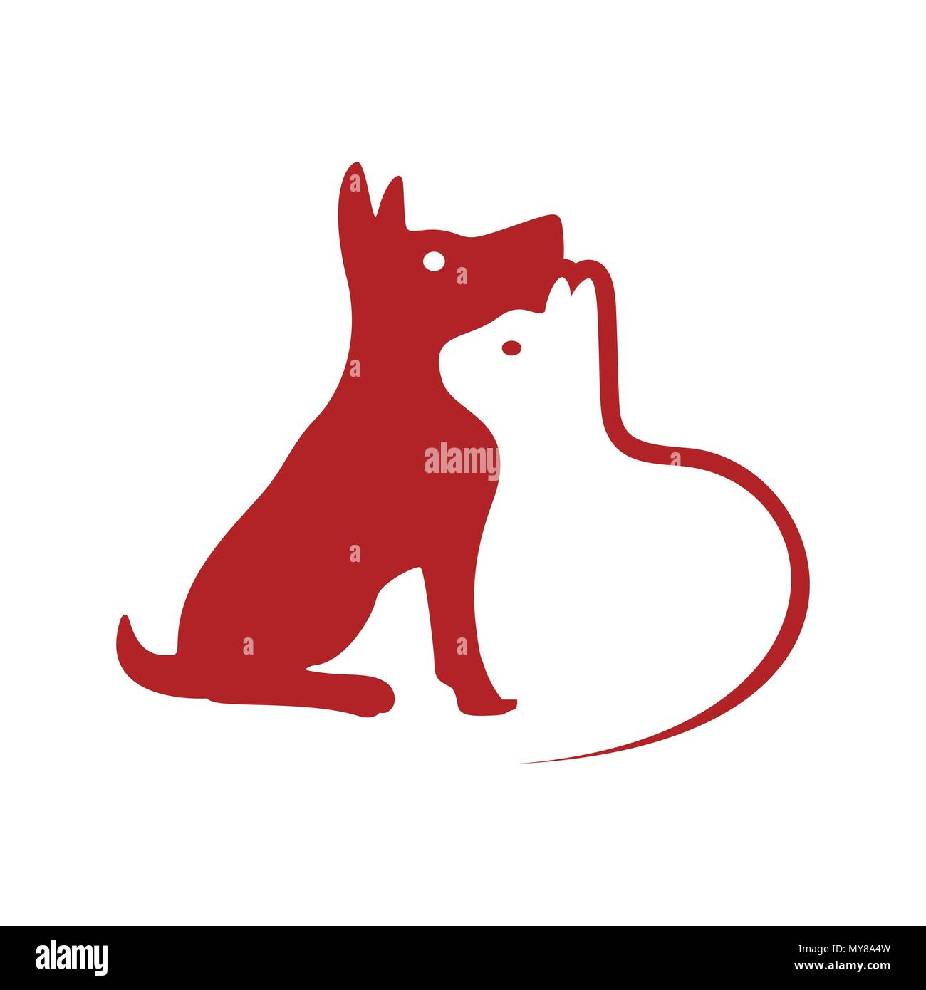 Dog and Cat Negative Space Vector Symbol Graphic Logo Design - Stock Image