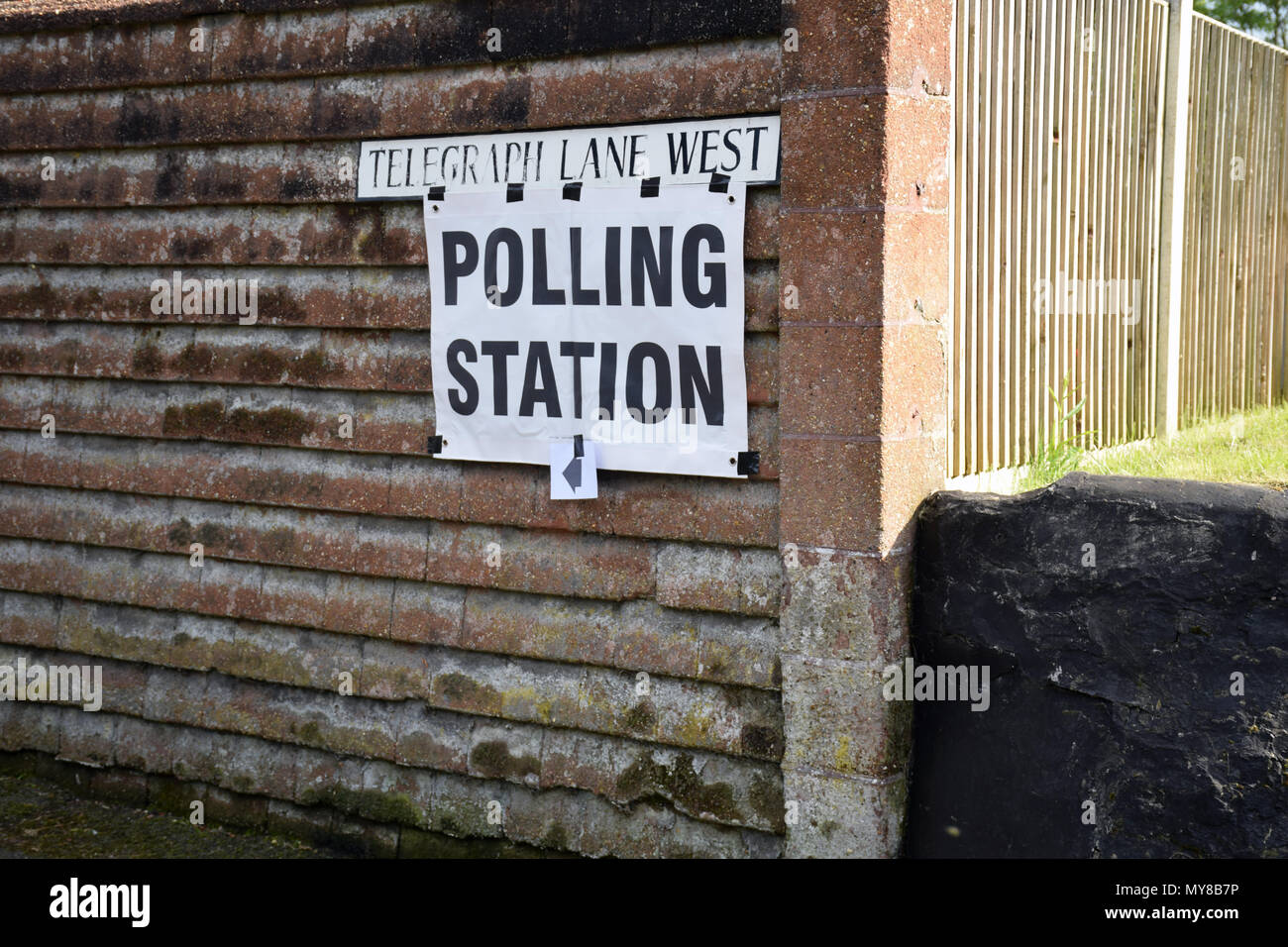 Polling station sign, local elections, Norwich UK May 2018 - Stock Image