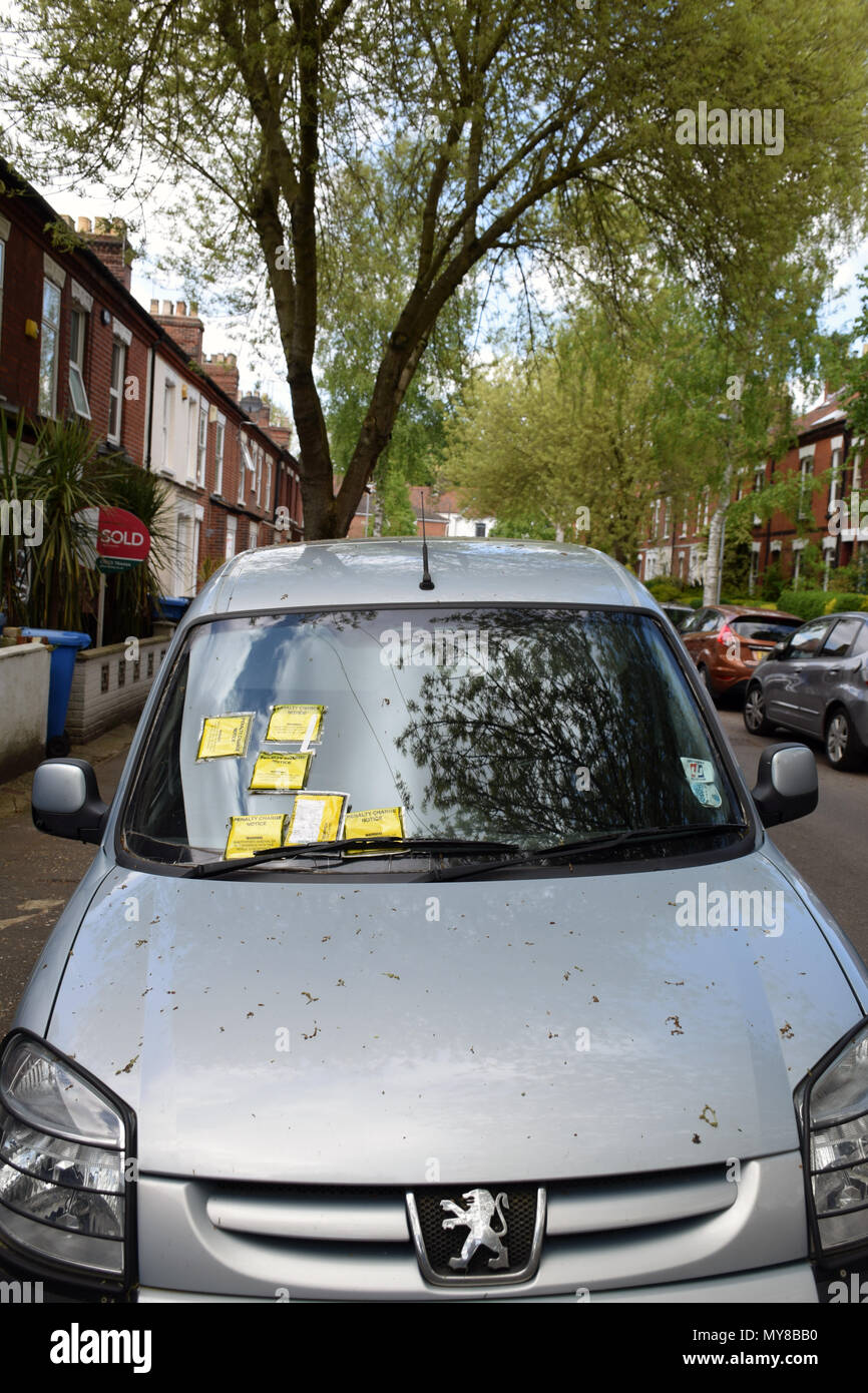 Parking tickets on car parked on permit only street in Norwich - in total, 7 tickets were issued. UK May 2018 - Stock Image