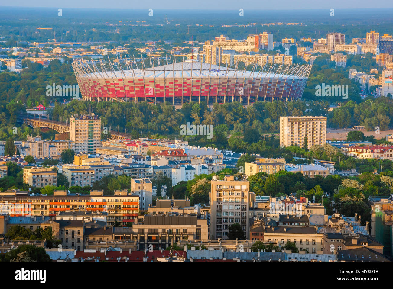 View of the Polish national football stadium (Stadion Narodowy) in the Praga district of Warsaw, Poland. - Stock Image