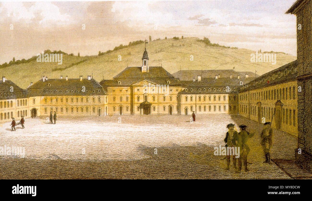 . Die Hohe Carlsschule, Stuttgart . kolorierter Stahlstich nach einer Zeichnung von Karl Philipp Conz 5 175Hohe Carlsschule - Stock Image