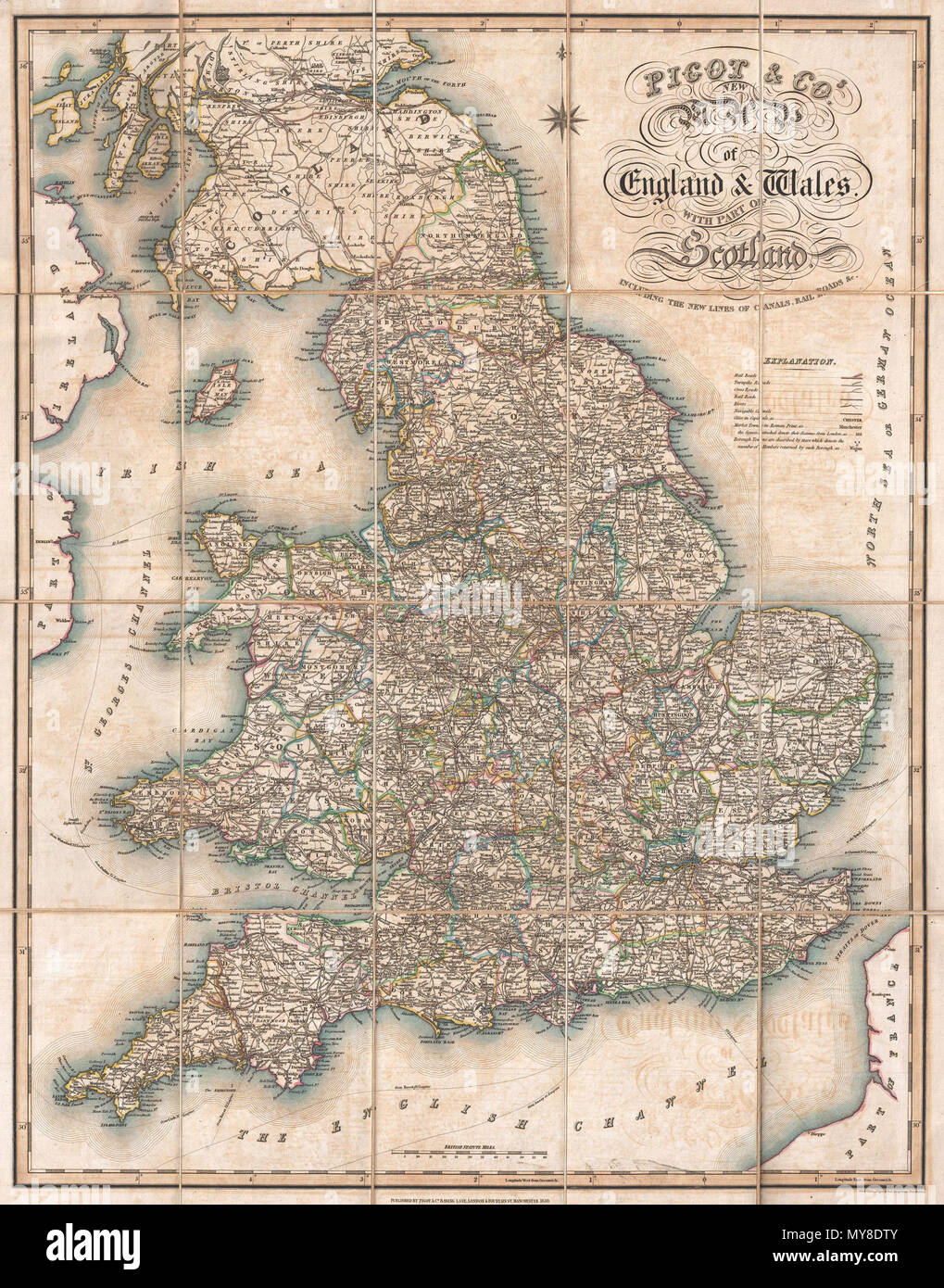 Road Map Of England And Wales With Towns.Pigot Co S New Map Of England Wales With Part Of Scotland