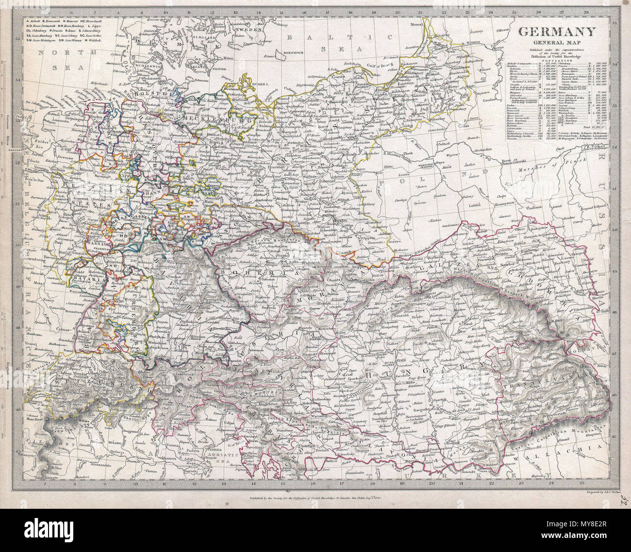 germany general map english this is the society for diffusion of useful knowledges attractive 1840 map of germany covers germany from the north sea to