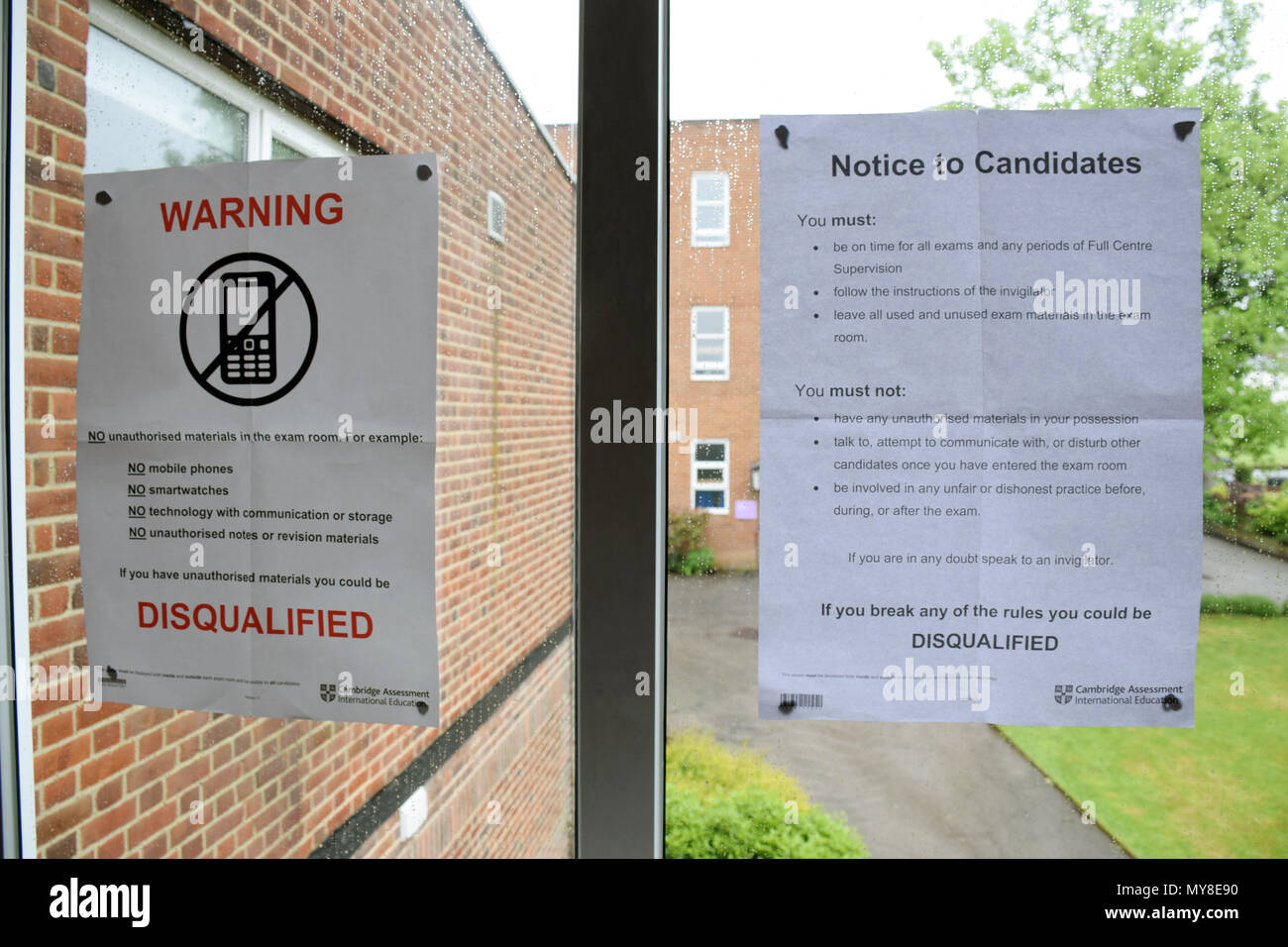 Exam rules, secondary school UK 2018 - Stock Image