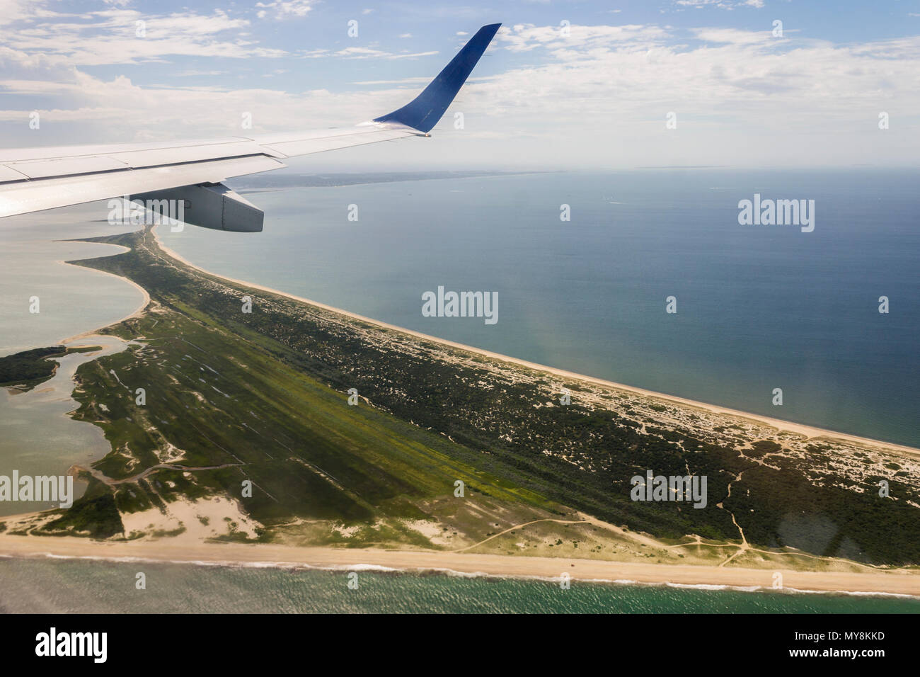 Views of the Head of the Harbor in Nantucket island, Massachusetts, from a charted flight - Stock Image