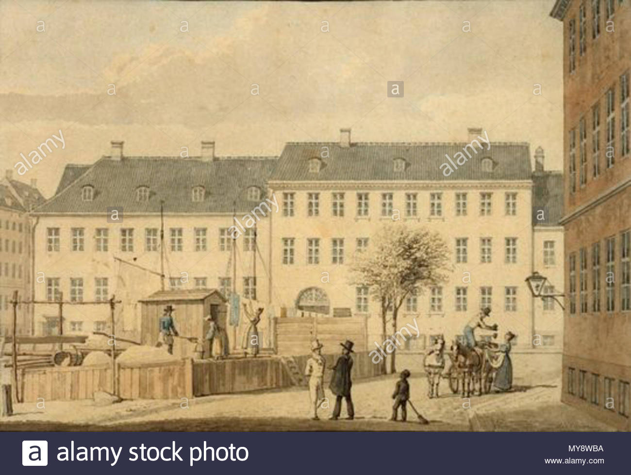 . Sandkiste (sand deposit?) - at Frederiksholms Kanal in Copenhagen, Denmark . 1835. G. F. Holm 227 H. G. F. Holm - Frederiksholms Kanal, 1835 - Stock Image
