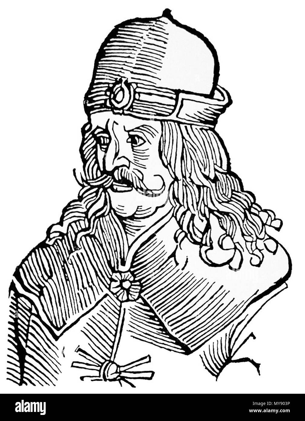 . Vlad Ţepeş in a German engraving . 16th century. see above 1 023a - Vlad Tepes - Stock Image