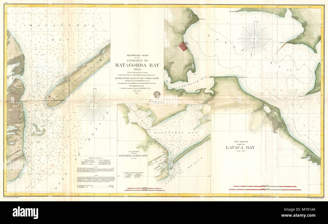 Detail Map Of Texas.Preliminary Chart Of The Entrance To Matagorda Bay Texas Sub