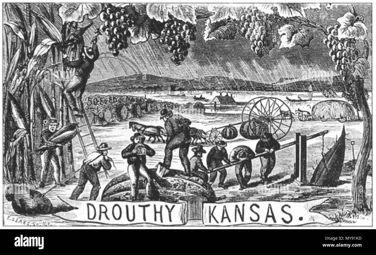 . 'Drouthy Kansas' by Henry Worrall. Oil on canvas. 1869. Henry Worrall (1825-1902) 8 1869 Drouthy Kansas by Henry Worrall KansasStateHistoricalSociety Stock Photo