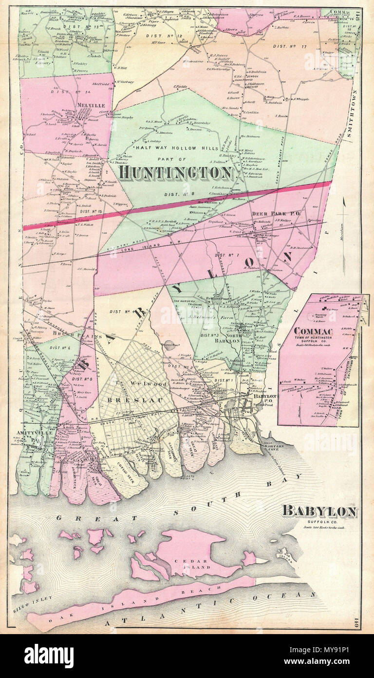 Amityville New York Map.Babylon Suffolk Co English A Scarce Example Of Fredrick W Beers