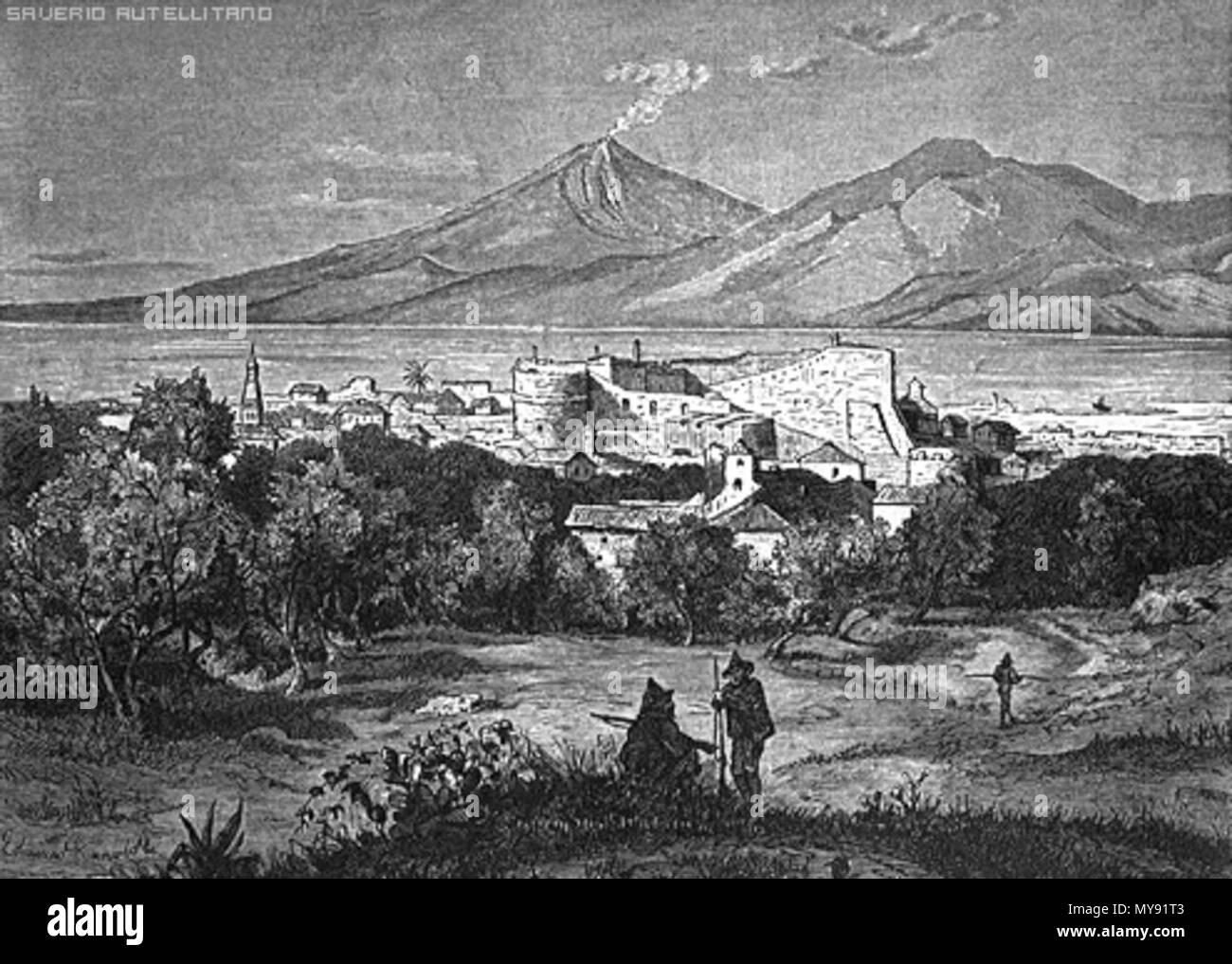 . old incision - Antica incisione raffigurante Reggio Calabria ed il suo castello con il vulcano Etna sullo sfondo. modern era. Unknown 448 Reggio calabria incisione castello etna - Stock Image