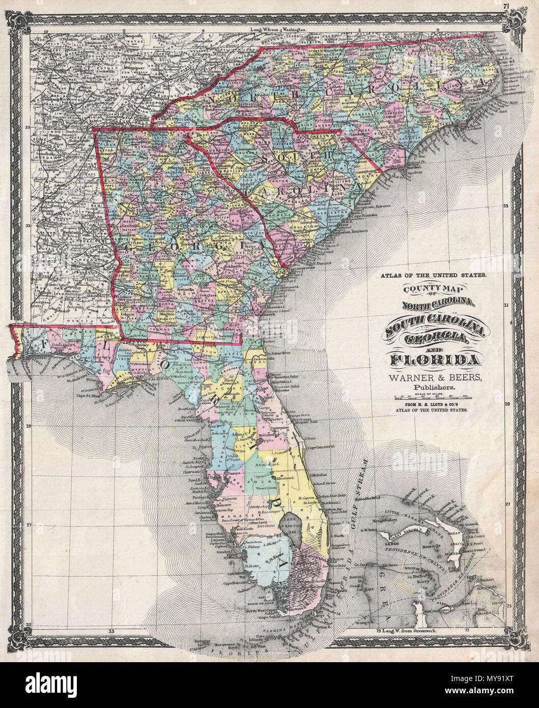 County Map Of North Carolina South Carolina Georgia And Florida