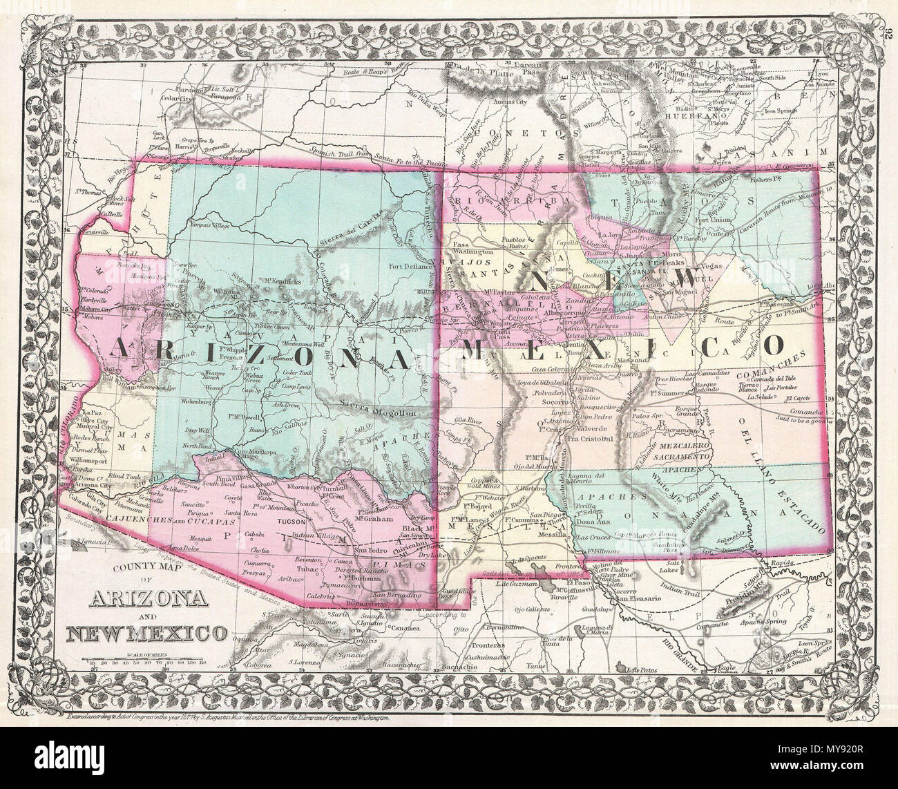 Geographical Map Of Arizona.County Map Of Arizona And New Mexico English A Beautiful Example