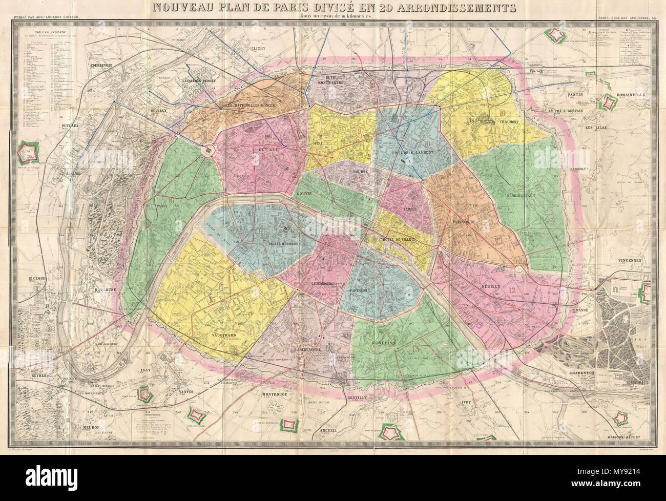 Nouveau Plan De Paris Divise En 20 Arrondissements Dans Un