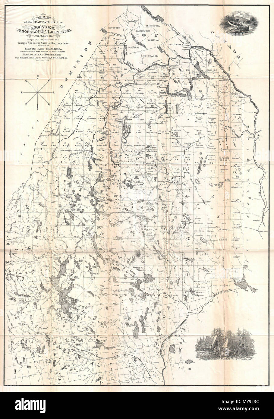St John River Maine Map.Map Of The Headwaters Of The Aroostook Penobscot St John Rivers