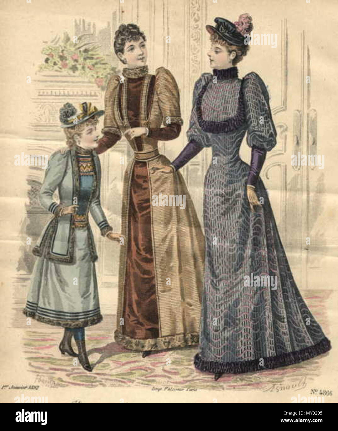 Fashion plate from Journal Des Demoiselles, 1892 . 1892. This file ...
