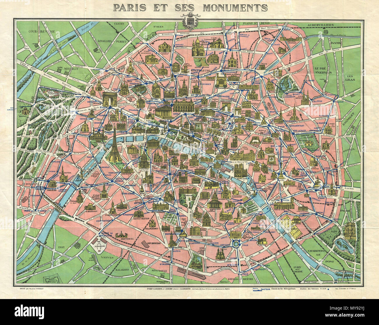 Paris Metro Map With Monuments.Paris Et Ses Monuments Versailles Et Ses Promenades English This