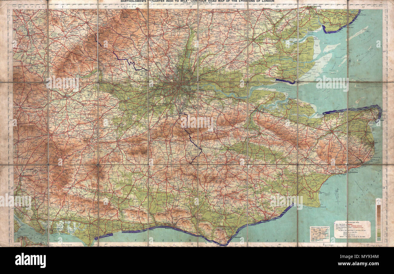 Basic Map Of London.Bartholomew S Quarter Inch To Mile Coutour Road Map Of The