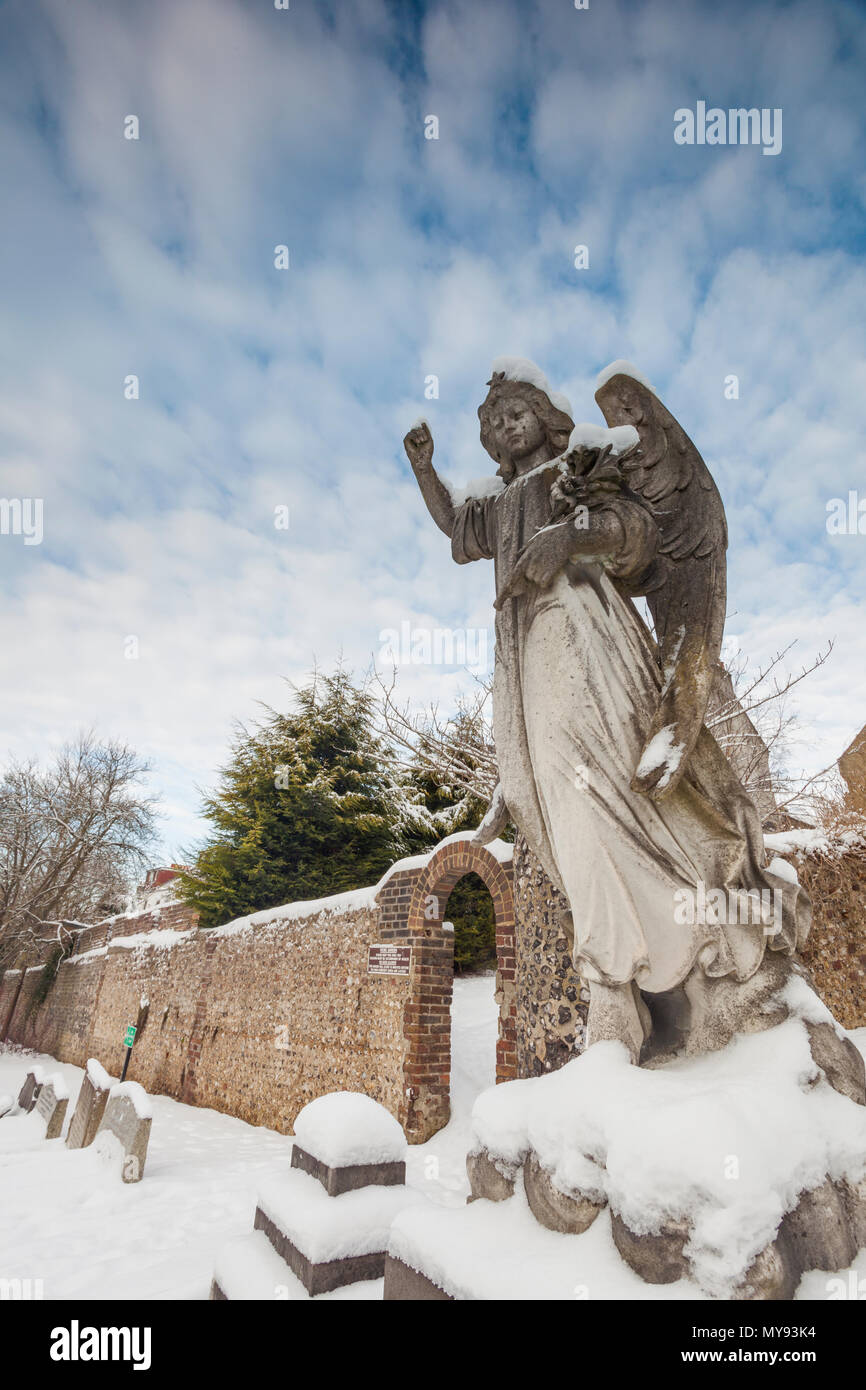 Snow at a cemetery in Brighton, East Sussex, England. Stock Photo