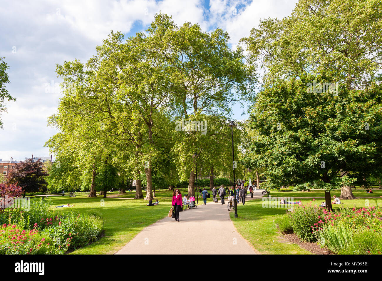 Russell Square in Bloomsbury, London, UK - Stock Image