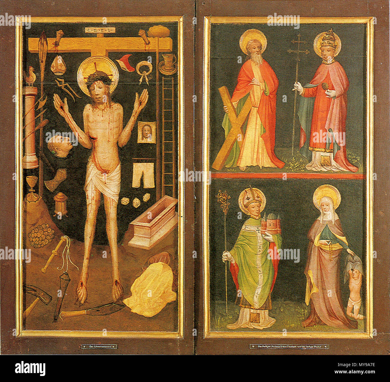 . Man of Sorrow with Arma Christi and Saints Andrew, Urban, Heribert of Deutz and Elisabeth of Hungary - closed Altar of Holy Kinship . circa 1420. Master of Holy Kinship the Elder 35 Altar of the Holy Kinship (closed) Stock Photo