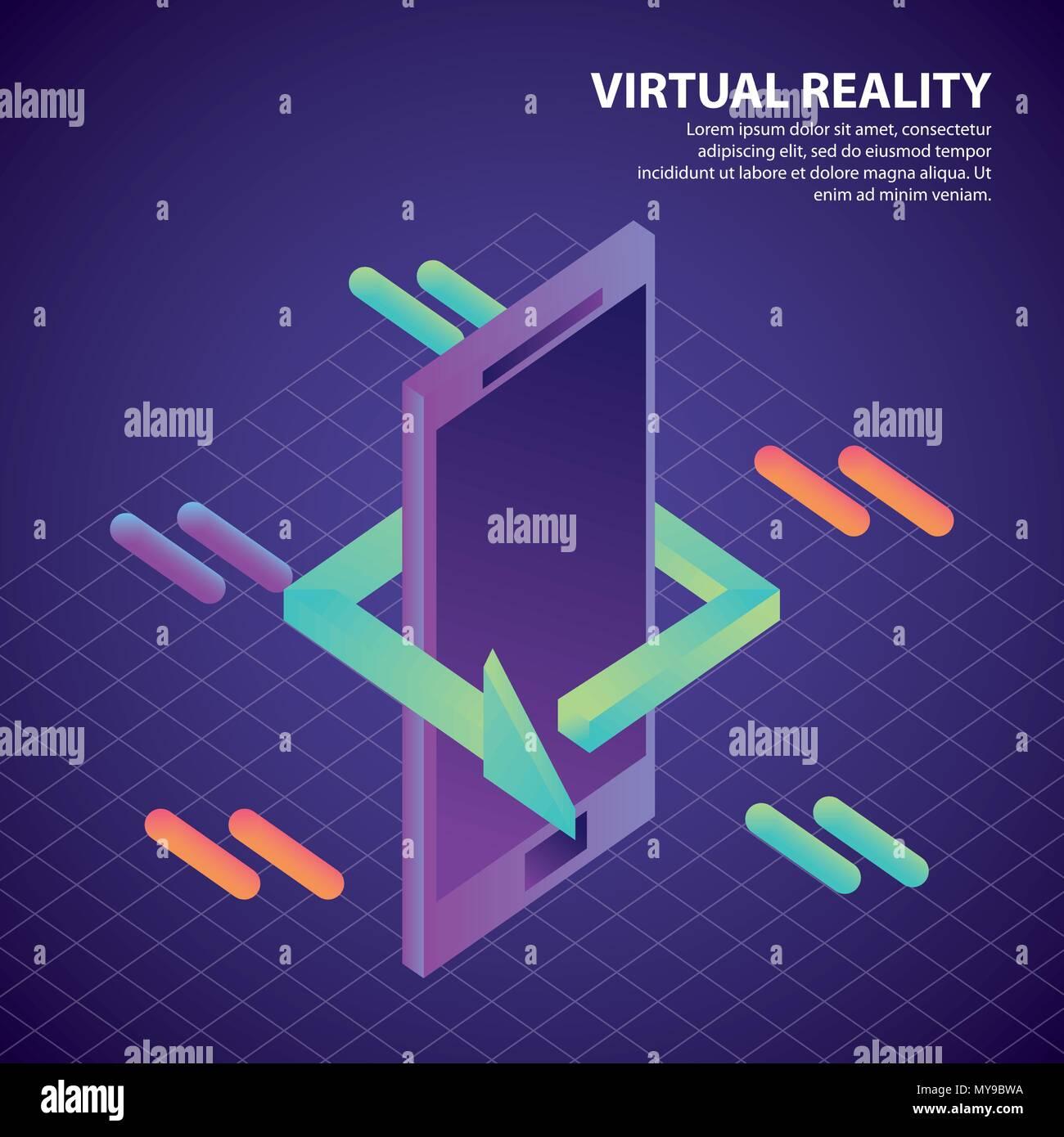 virtual reality isometric - Stock Image