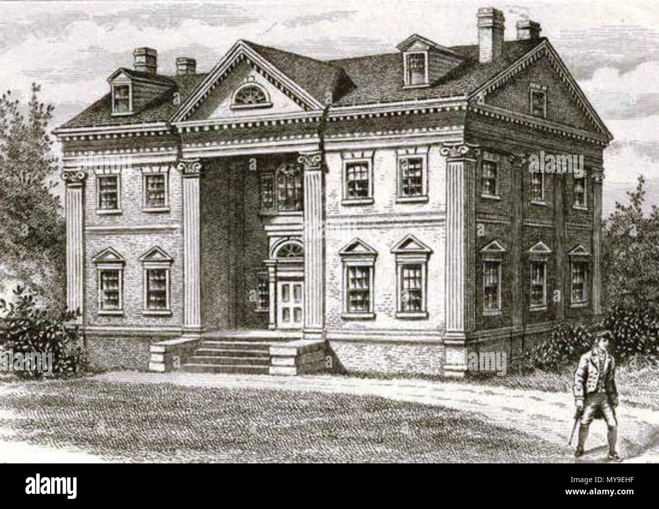 . Apthorpe Mansion, New York City, 1790. circa 1907. Hollyer, Samuel, 1826-1919 -- Engraver 47 Apthorpe Mansion 001 crop - Stock Image