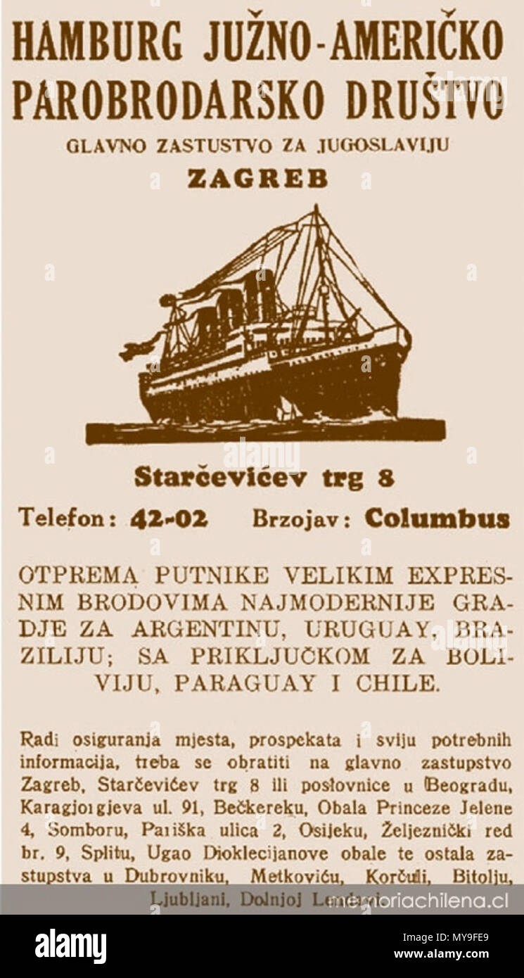 . Ad of croatian cruiser en route to South America in the 19th Century. 1930s. Author dead more than 70 years 22 Ad-of-croat-cruiser-en-route-to-sth-america - Stock Image