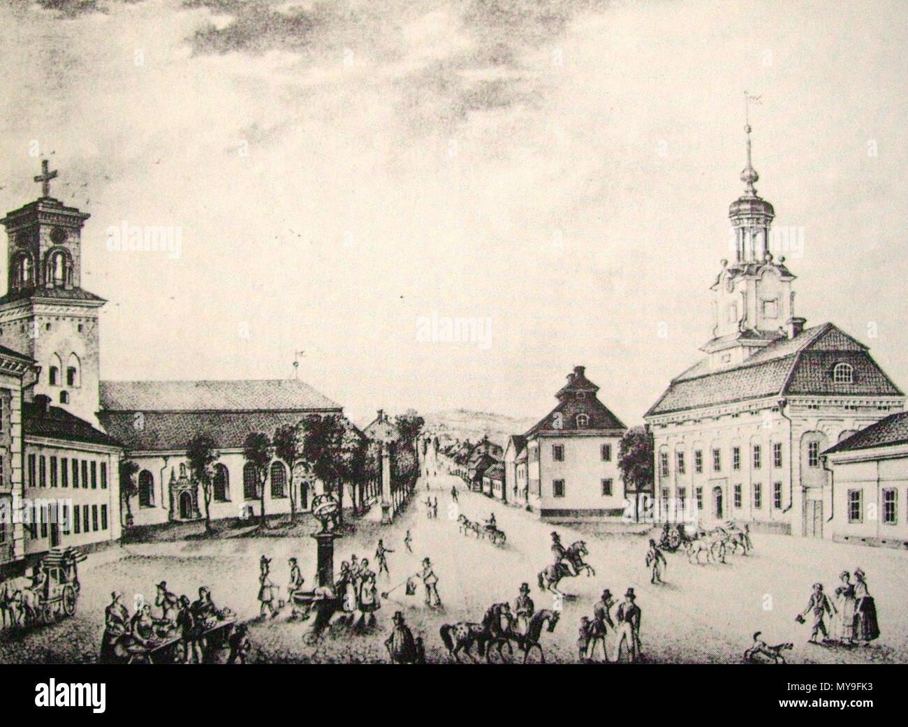 504 Stora torget, Nyköping. Att förnya gammal bygd. Södertälje 1974. Gravyr E. Fr. Martin 1840 - Stock Image