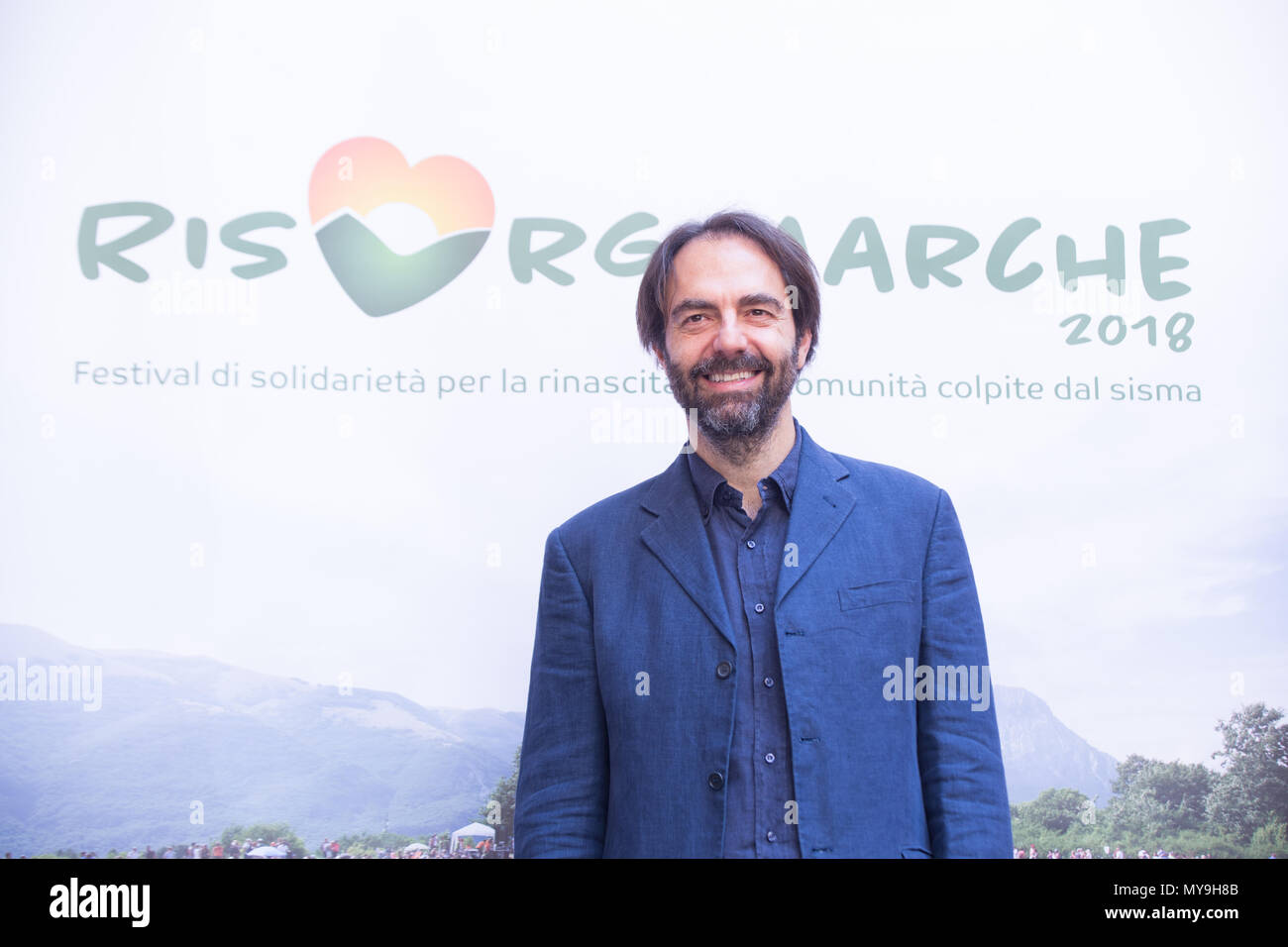 Rome, Italy. 06th June, 2018. The Italian actor and organizer Neri Marcorè presents the 2018 edition of the RisorgiMarche Festival to the press, in which great Italian singers will perform in the evocative natural frames of the Marche Region and, in particular, in those territories most affected by the earthquake of 2016 Credit: Matteo Nardone/Pacific Press/Alamy Live News Stock Photo