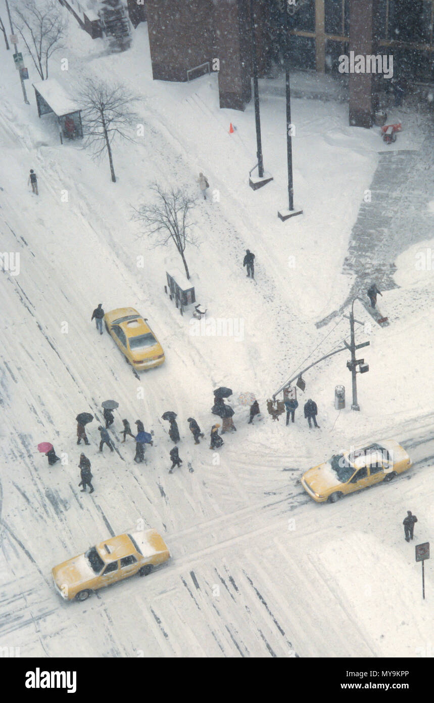 New Yorkers in the 1994 Snow storm, NYC, USA - Stock Image