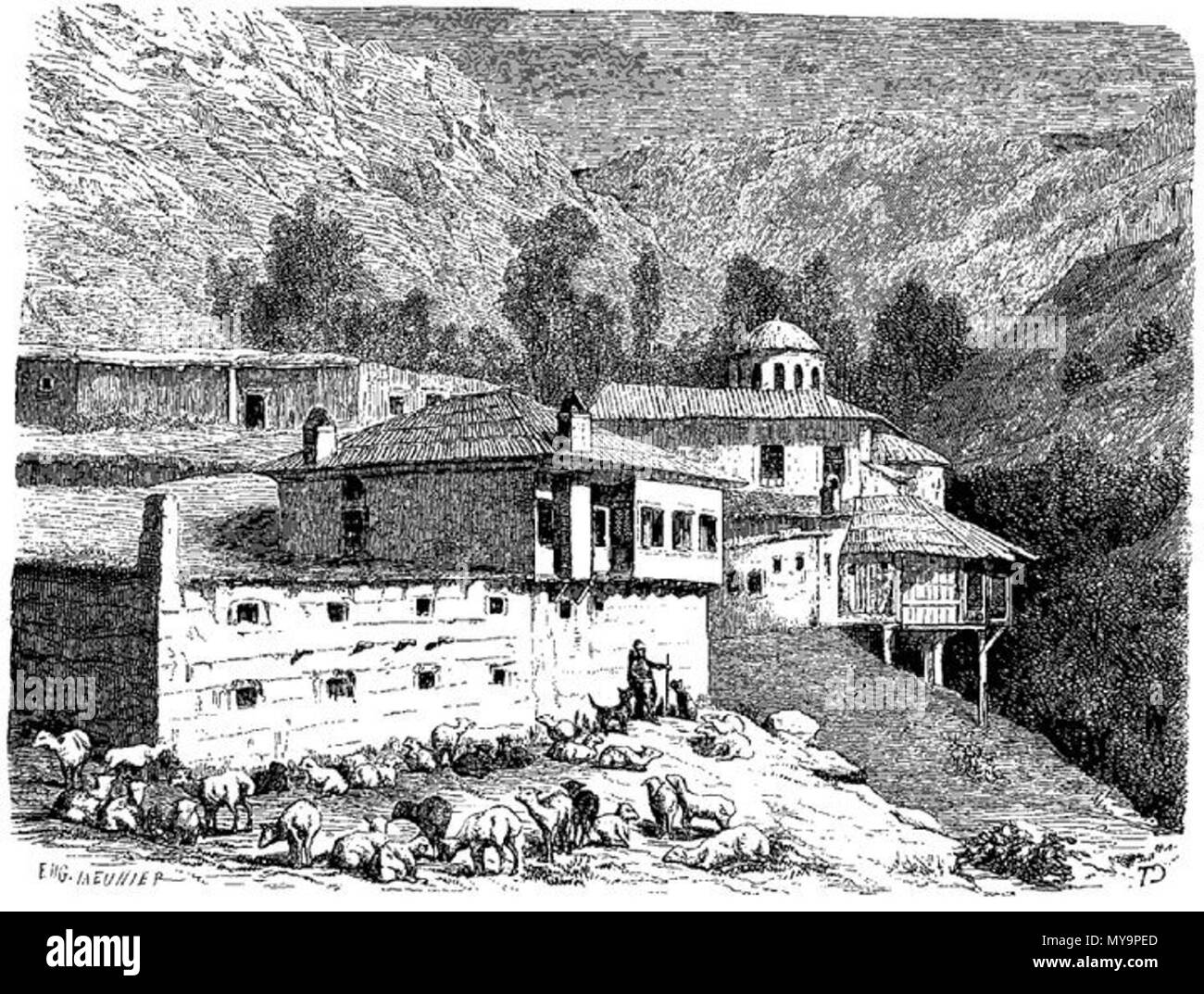 . English: Gravure of armenian monastery near Trebizond (Gümüshane, Süleymaniye district). 9 August 2014, 15:55:06. Eugène Meunier (1841–1906) 49 Armenian monastery at Trebizond - Stock Image